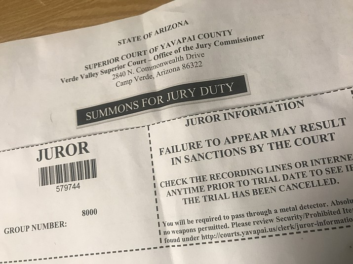 A summons for jury duty at Yavapai County Superior Court. (Illustration/Courtesy)