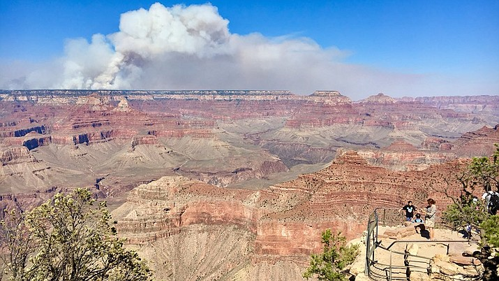 Smoke from the Obi Fire, which has burned almost 9,000 acres on the North Rim, is visible across the canyon. (Photo/NPS)