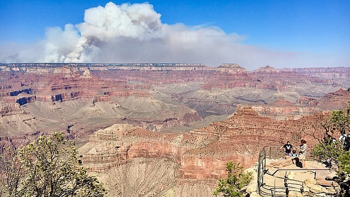 Smoke from the Obi Fire, which has burned almost 9,000 acres on the North Rim, is visible across the canyon. (National Park Service/Courtesy)
