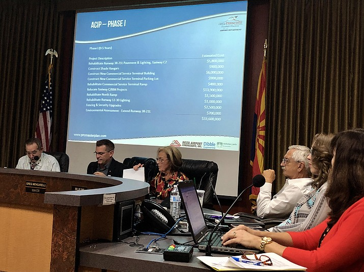 Prescott City Council members listen to a presentation Aug. 14 on the airport master-planning process that has been underway since 2016. (Cindy Barks/Courier)