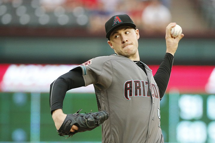 Arizona Diamondbacks starting pitcher Patrick Corbin (46) pitches against the Texas Rangers during the first inning of a baseball game Tuesday, Aug. 14, 2018, in Arlington, Texas. (Michael Ainsworth/AP)