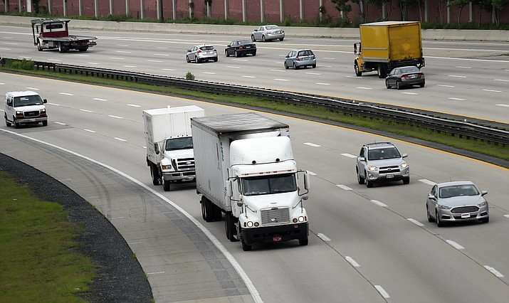 In this June 19, 2015, file photo, traffic heads eastbound on Rt 50 in Bowie, Md. Internal documents show the Environmental Protection Agency privately questioned the Trump administration's finding that freezing Obama-era mileage standards would make drivers safer. In announcing the mileage proposal, the administration said the freeze would save 1,000 lives a year. (Susan Walsh/AP, file)
