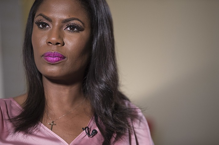 Television personality and former White House staffer Omarosa Manigault Newman listens during an interview with The Associated Press, Tuesday, Aug. 14, 2018, in New York. (Mary Altaffer/AP)