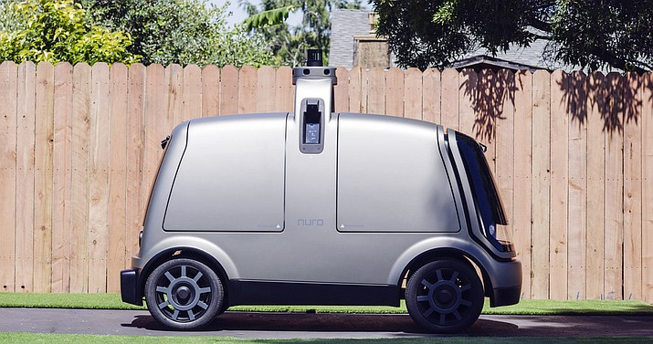 Pictured is an autonomous vehicle called the R1. Kroger will begin testing grocery deliveries using driverless cars outside of Phoenix. (The Kroger Co. via AP)