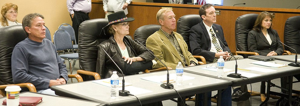 Yavapai County Supervisors Chip Davis, Carol Springer, Thom Thurman, Arizona Secretary of State Ken Bennett and County Administrator Julie Ayers listen to a presentation Monday from the County Election Department about a new committee that will oversee Arizona Elections protocol and processes November 14, 2011. (Les Stukenberg/Courier)