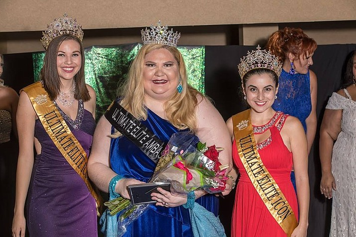 Karista Rose Harris, center, was crowned by Ultimate Elite Icons, Sydney Wildridge and Janelle Mccain. (Courtesy)