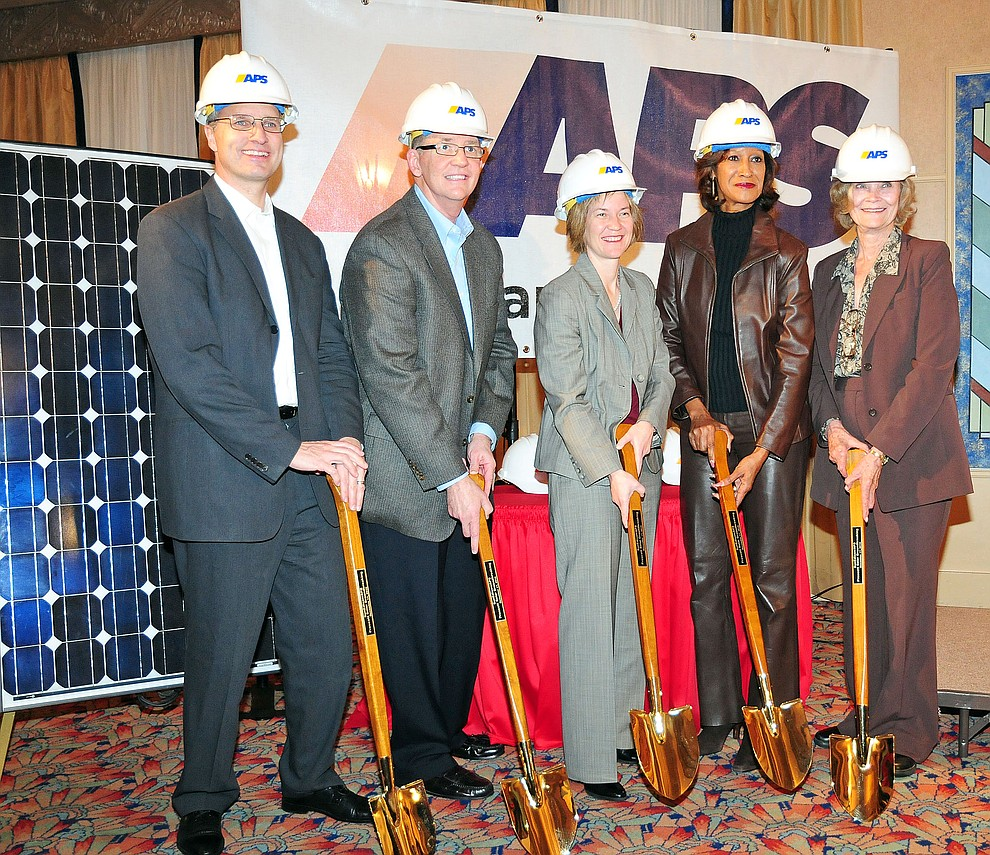 Managing director of SunEdison Robert Reichenberger, left, President and COO of APS Donald Robinson, ACC chairman Kris Mayes, ACC board member Sandra Kennedy and Yavapai County supervisor Carol Springer were a few in attendance at the groundbreaking December 17, 2010 for SunEdison's new solar farm that APS will buy the energy from. (Courier/Brett Soldwedel)