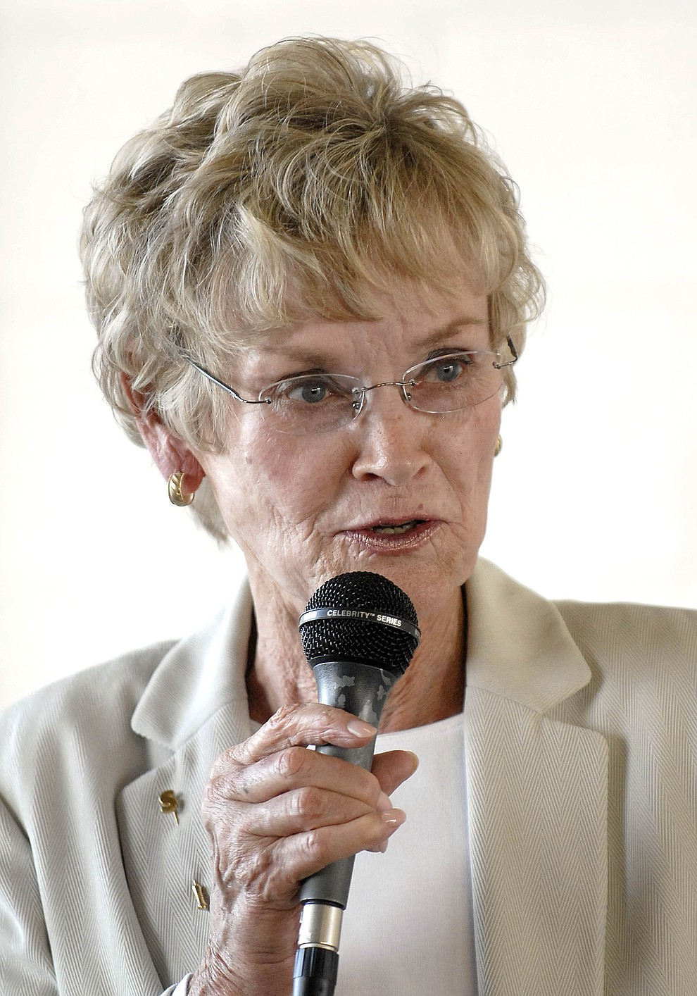County Supervisor Carol Springer states her position and thoughts on issues Thursday July 24, 2008 at a forum for supervisor candidates. (Courier file photo)