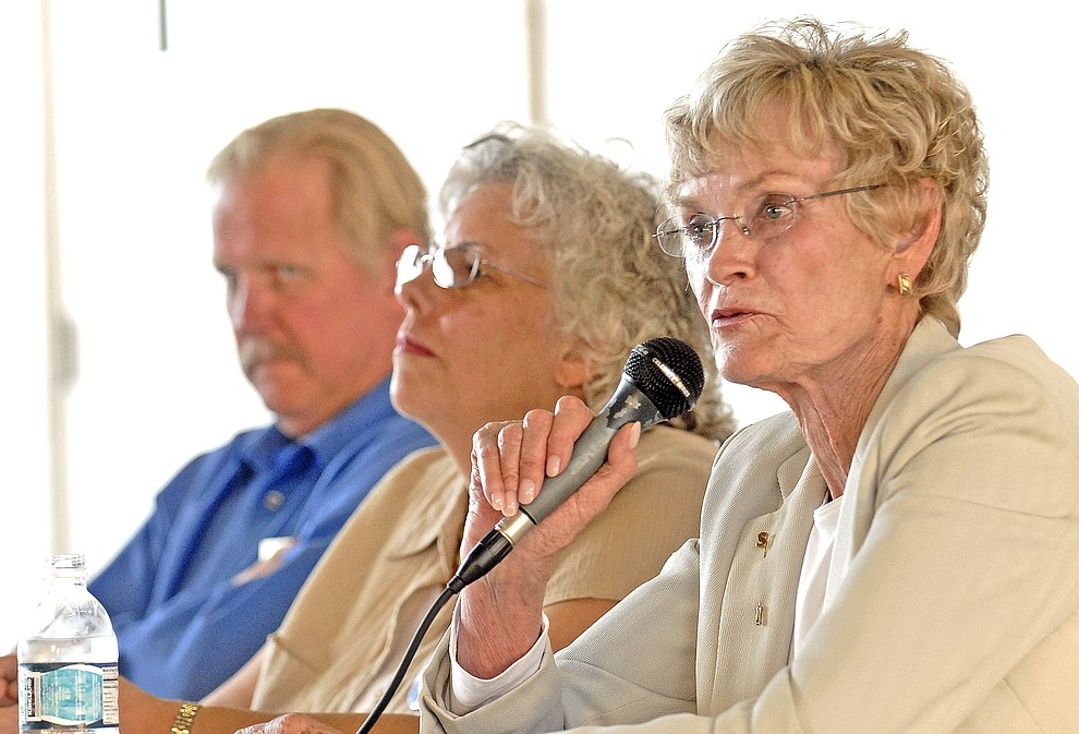 Supervisor candidates from left, George Seaman, Georgene Lockwood and Carol Springer at a candidate forum Thursday July 24, 2008 at the Williamson Valley fire station. (Courier file photo)