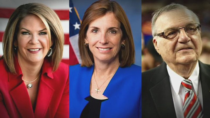 Martha McSally, Kelli Ward and Joe Arpaio are vying for the Republican nomination to fill the seat of retiring Sen. Jeff Flake. (Courtesy)