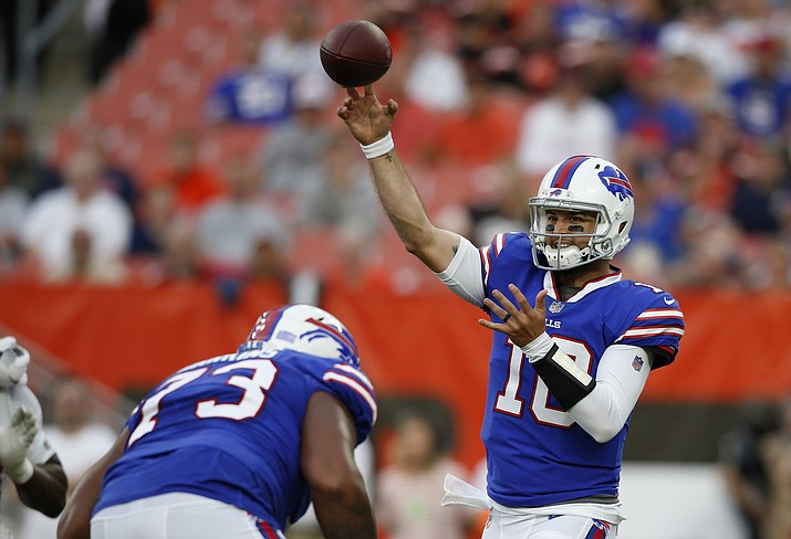 Buffalo Bills quarterback AJ McCarron throws during the first half of the team's NFL football preseason game against the Cleveland Browns, Friday, Aug. 17, 2018, in Cleveland. McCarron sustained a potentially serious shoulder injury, throwing the Bills' quarterback situation into total disarray. (Ron Schwane/AP)