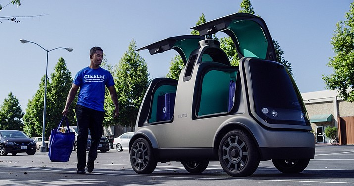 The Kroger Co. grocery chain said the driverless deliveries project will begin Thursday, Aug. 16, 2018, in Scottsdale, at a Fry's supermarket, which is owned by Kroger. The Toyota Prius will be used for the deliveries initially, and during phase two in the fall deliveries will be made by the R1 with no human aboard. Smith's Food and Drug is a subsidiary of Kroger. (The Kroger Co. photo)