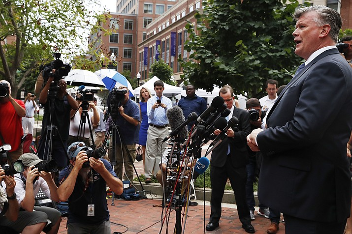 Kevin Downing, with the defense team for Paul Manafort, speaks briefly to the media on leaving federal court after jury deliberation finished for the day in the trial of the former Donald Trump campaign chairman, in Alexandria, Va., Friday, Aug. 17, 2018. (Jacquelyn Martin/AP)