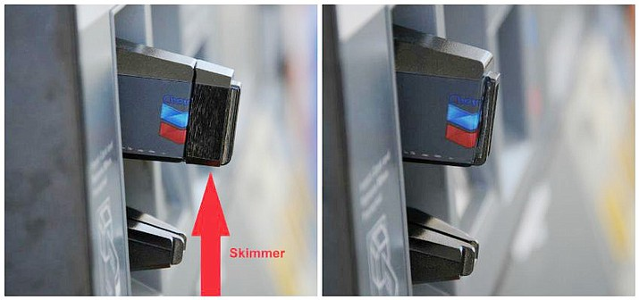Some credit card skimmers can be placed on the exterior of a credit card reader.  (Arizona Weights and Measures Services Division/Courtesy)