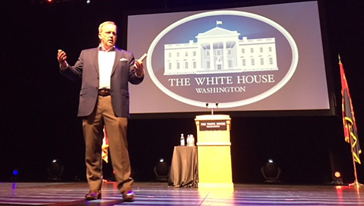 Former White House Press Secretary Sean Spicer speaks Saturday night at the Yavapai College Performing Arts Center in Prescott. (George Lurie/Courier)
