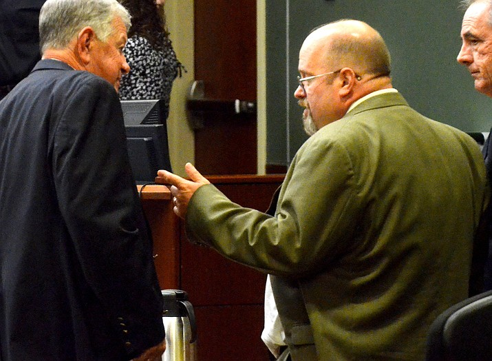 Tom Chantry talks with his attorney, John Sears Thursday at the Yavapai County Superior Court in Camp Verde. Jury deliberations will continue Thursday. VVN/Vyto Starinskas
