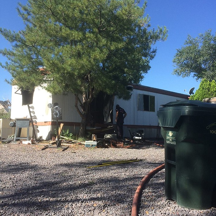 A mobile home in the 1500 block of Bottle Brush Drive in Chino Valley was damaged from a Saturday, Aug. 18, fire. No one was home. (CAFMA/Courtesy)