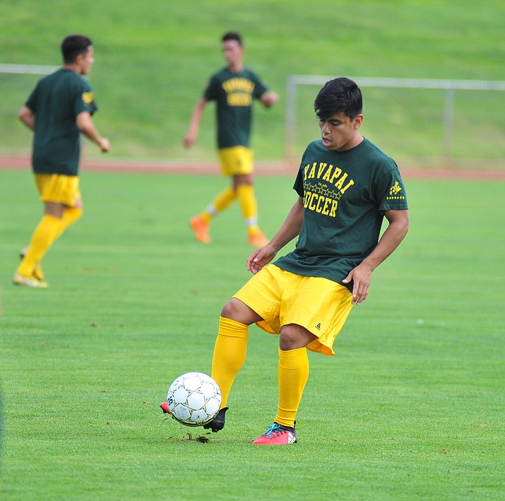 Yavapai's Jose Perez Flores warms up during practice Tuesday, Aug. 15, 2018, at Mountain Valley Park in Prescott Valley. (Les Stukenberg/Courier)
