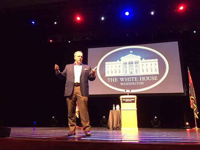 Former White House Press Secretary Sean Spicer speaks Saturday night at the Yavapai College Performing Arts Center. (George Lurie/Courier)