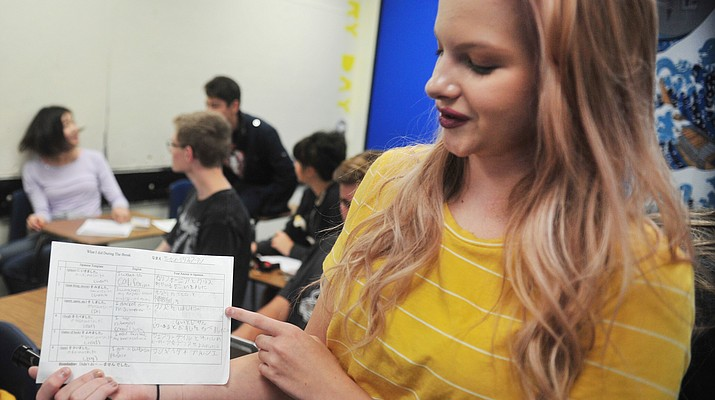 Prescott High School students taking a second year Japanese language course