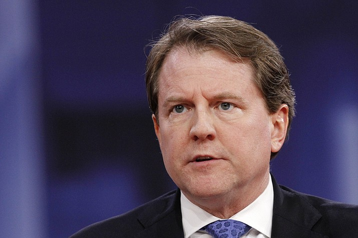 White House counsel Don McGahn speaks at the Conservative Political Action Conference, at National Harbor, Maryland, Feb. 22, 2018 (Jacquelyn Martin/AP Photo, file)