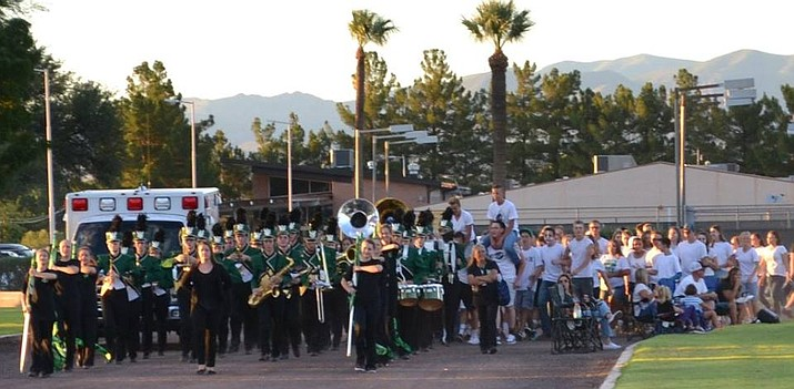 A man upset by loud music brought a gun into Thatcher High School. Here, the Thatcher marching band performs. (Thatcher Unified District photo)
