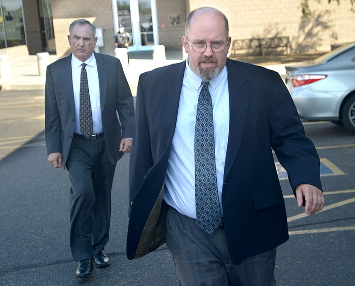 Former Prescott Pastor Thomas Chantry, front center, leaves the Yavapai County Superior Courthouse in Camp Verde after he was convicted of aggravated assault Tuesday, Aug. 21, 2018. (Vyto Starinskas/Verde Independent)