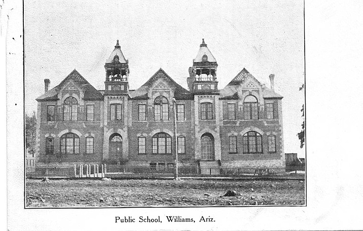 The first school in Williams was built in 1894 on Third Street and Sheridan Street. It burned to the ground in 1912. (Williams Historic Photo Project)