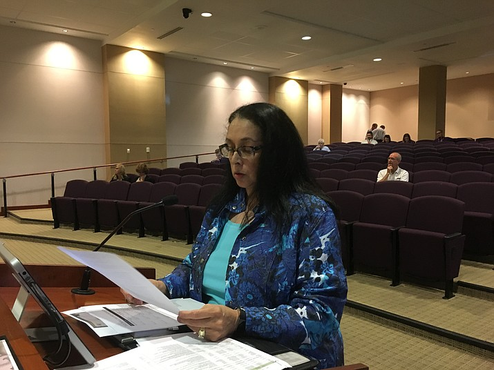 Yvonne Orr, assistant manager for Mohave County, reads a report on public records requests Monday at the Mohave County Board of Supervisors meeting. The board is asking staff to look into charging a deposit on requests that require extensive research. (Hubble Ray Smith/Daily Miner)