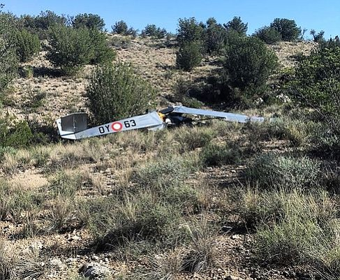 """Two Yavapai County men were killed in a plane crash southeast of Montezuma Castle in Camp Verde Saturday, Aug. 18. The plane was described as an experimental """"Air Camper"""" model. (Courtesy of Yavapai County Sheriff's Office)"""
