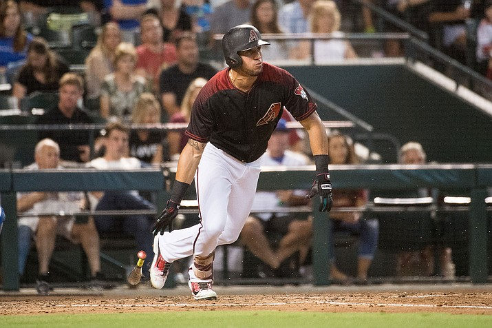 David Peralta drove in three runs and came a triple short of the cycle for Arizona, which has won five of six in taking over first place in the NL West. (Sarah Sachs/Arizona Diamondbacks file photo)