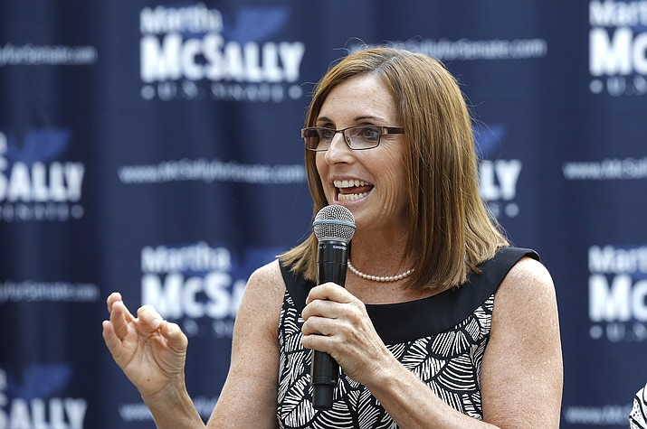 Rep. Martha McSally, R-Ariz., speaks during a news conference at a campaign event for her U.S. Senate primary race Wednesday, Aug. 15, 2018, in Phoenix. (Ross D. Franklin/AP, file)