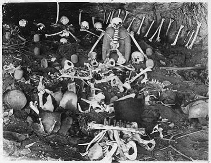 Skeletons were found in Skeleton Cave in the Salt River Canyon after the U.S. 5th Cavalry left the bodies there in 1872. According to offical U.S. Army reports, 54 Yavapai tribe members were killed and 20 captured, while only one member of the attacking side was killed and one wounded. (PD–US)