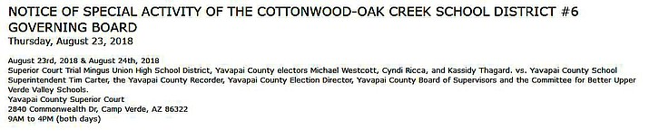 Screen capture from Cottonwood-Oak Creek School District website.