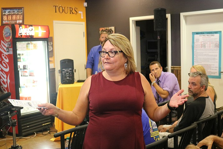 "Write-in Council candidate Deana Nelson says the City needs to get moving on the Kingman Crossing interchange, and needs to ""stop suing everybody."" (Photo by Travis Rains/Daily Miner)"