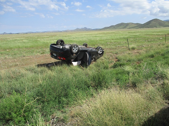 A black 2018 Chevy sedan rolled several times along Highway 89A near Yavapai Downs Wednesday morning, Aug. 22.