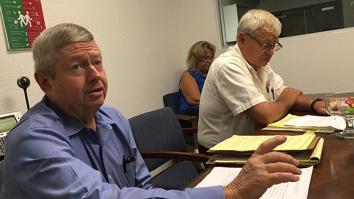 Committee for Better Upper Verde Valley Schools members Andy Groseta (left) and Phil Terbell shared their views Friday afternoon on the consolidation lawsuit settlement agreement negotiated with the Mingus Union School District. VVN/Vyto Starinskas
