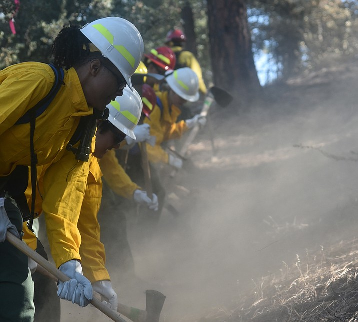 Participants of the 2017 Women in Wildland Fire Boot Camp go through field training in the Prescott National Forest. (Prescott National Forest/Courtesy)