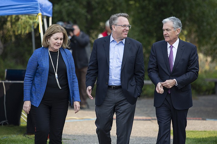 From left, Esther George, President and CEO of the Federal Reserve Bank of Kansas City, John Williams, President and CEO of the Federal Reserve Bank of New York, and Jerome Powell, Chairman of the Board of Governors of the Federal Reserve System walk together after Powell's speech at the Jackson Hole Economic Policy Symposium on Friday, Aug. 24, 2018 in Jackson Hole, Wyoming. Powell signaled Friday that he expects the Fed to continue gradually raising interest rates if the U.S. economic expansion remains strong. (Jonathan Crosby/AP)