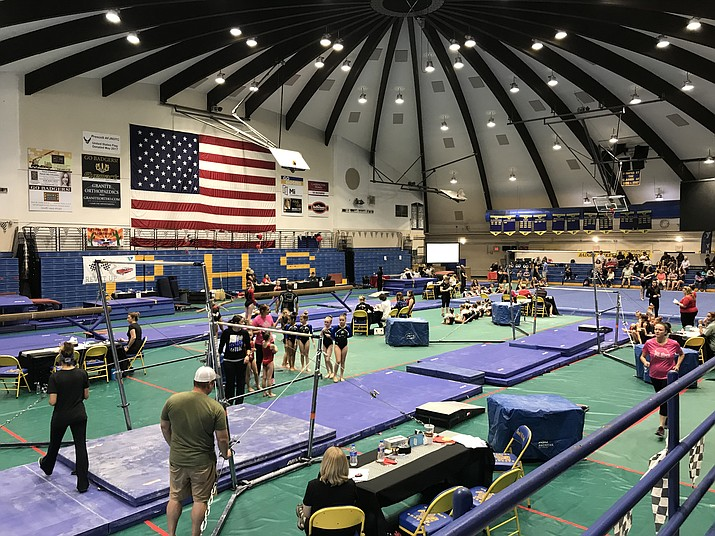 The Prescott YMCA hosted a statewide gymnastics meet on Saturday, Aug. 25, 2018, on the campus of Prescott High School. Nearly 300 people were in attendance to watch gymnasts from across the state of Arizona compete. (Courtesy)