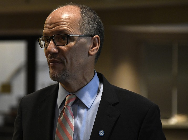 Chairman of the Democratic National Committee Tom Perez pauses after a session during the DNC's summer meeting, Friday, Aug. 24, 2018, in Chicago. (AP Photo/Annie Rice)