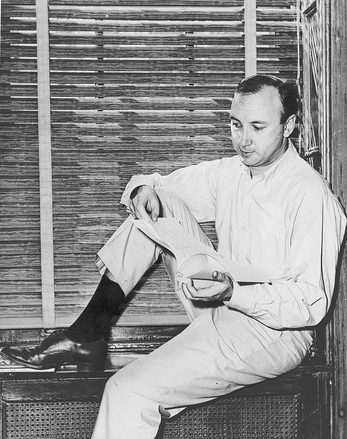 """laywright Neil Simon, a master of comedy whose laugh-filled hits such as """"The Odd Couple,"""" """"Barefoot in the Park"""" and his """"Brighton Beach"""" trilogy dominated Broadway for decades, has died. He was 91. (Photo by New York World-Telegram and the Sun staff photographer [Public domain], via Wikimedia Commons)"""