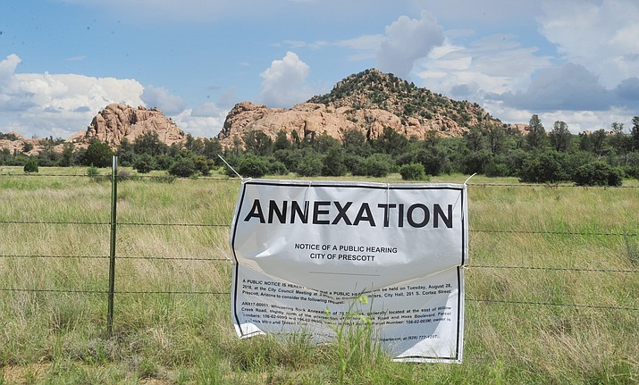 A notice states the Prescott City Council will hold a public hearing Tuesday, Aug. 28, about an annexation request for 74 acres along Willow Creek Road. (Les Stukenberg/Courier)