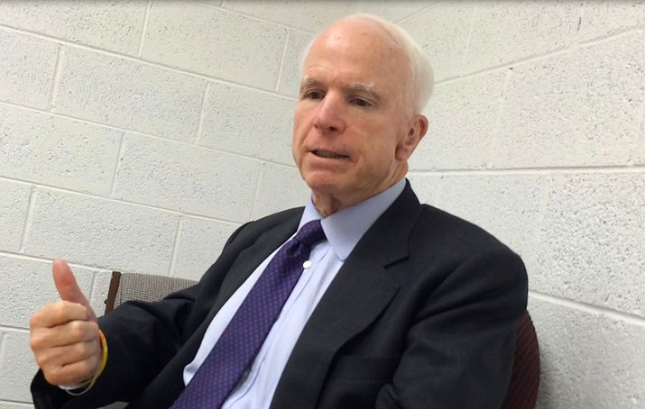 U.S. Sen. John McCain during a 2016 interview with The Verde Independent. VVN/Vyto Starinskas