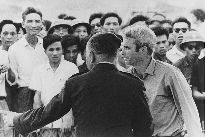 John McCain is released from prison in Hanoi, Vietnam with USAF General Russell Ogan, March 14, 1973. (JohnMcCain.com photos)