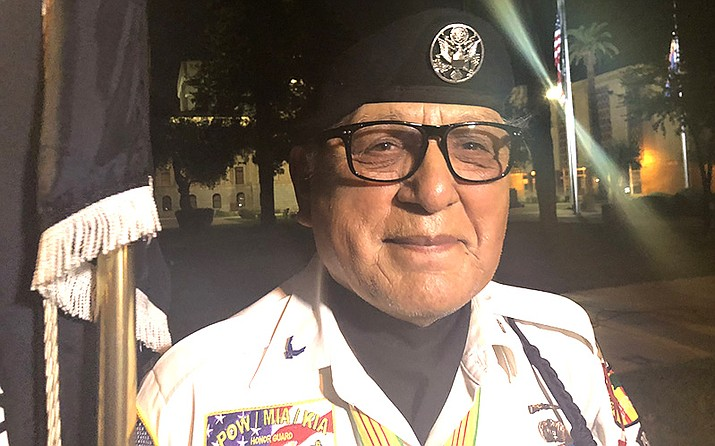 "David Carrasco, an Air Force veteran who served two tours in Vietnam, went to the state Capitol soon after he learned fellow veteran John McCain had died. ""The bond that the Vietnam veterans have is a very unique bond,"" he said. (Photo by Taylor Rocha/Cronkite News)"