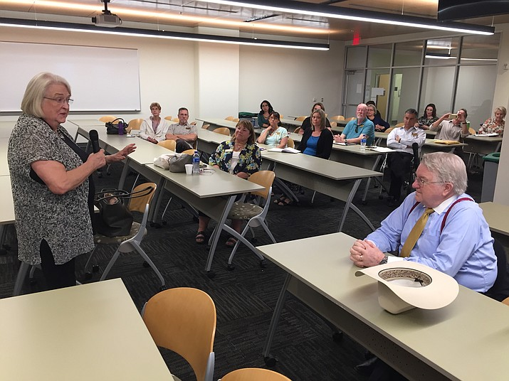 Dr. Pam Fisher updates Yavapai College officials on the search for a new president during a forum Monday, Aug. 27, 2018, in Prescott. (George Lurie/Courier)