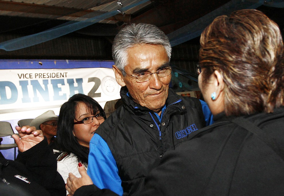 FILE - In this April 21. 2015, file photo, Navajo Nation presidential candidate Joe Shirley Jr. thanks his supporters after losing the special election to Russell Begaye at Nakai Hall in Window Rock, Ariz. Navajo voters have a record number of candidates to choose from in the Tuesday, Aug. 28, 2018 presidential primary election. The race has drawn 18 candidates with the top two vote-getters moving on to the November general election. (Jon Austria/The Daily Times via AP, file)