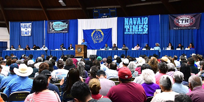 Candidates for Navajo Nation president speak at a forum Aug. 20 at Dine College in Tsaile, Arizona. (Ed McCombs/Dine College via AP)