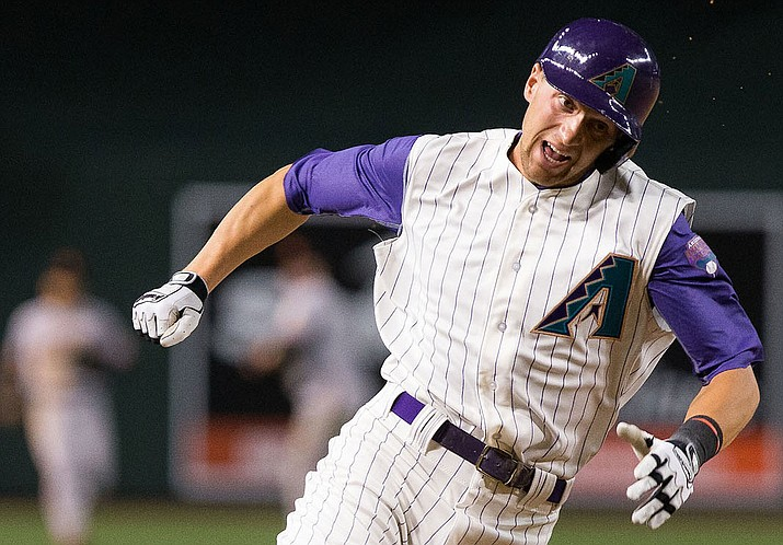Nick Ahmed tried to score for the D-backs in the eight inning, but was thrown out at home after pinch-hitter David Peralta hit a single to deep center. (File photo courtesy of Sarah Sachs/Arizona Diamondbacks)